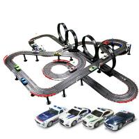 新款手摇双人遥控轨道赛车儿童电动玩具汽车套装
