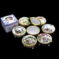 中国风特色彩釉陶瓷粉盒 化妆盒 首饰盒 带镜子补妆盒 女士小礼品礼物节日礼品