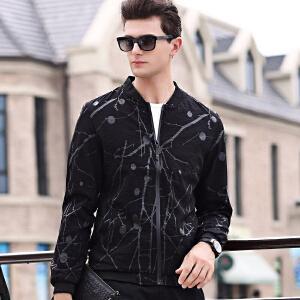 伯克龙 夹克男士时尚休闲拉链短款春秋季薄款修身棒球服立领外套黑色Z31225