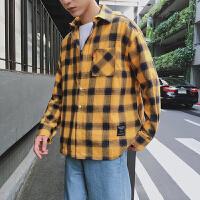 韩风黑白格子衬衫男长袖韩版潮牌宽松衬衫男秋季青年衬衣外套