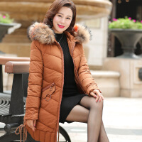 茉蒂菲莉 中老年棉服 女士中年保暖中长款棉衣毛领外套冬季新款妈妈装女式时尚休闲中老年女装