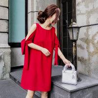 红色连衣裙潮 夏季新品简约干净气质纯色露肩绑带休闲裙子百搭女