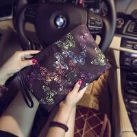原创设计韩版手包 新款蝴蝶图案手拿包 潮流尚男女手拿包信封包潮 黑色