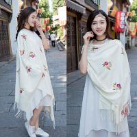民族风绣花纯色长款仿羊绒围巾两用百搭加厚披肩女士秋保暖披巾