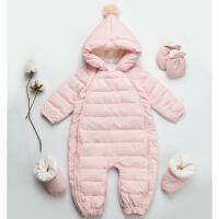 婴儿羽绒服外出加厚0-1岁新生男女宝宝抱衣6-12个月冬季连体衣