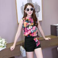 夏季女装新款休闲时尚套装女宽松显瘦无袖印花韩版上衣短裤两件套