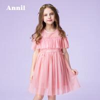 【2件35折:280】安奈儿童装女童蕾丝网纱连衣裙礼服夏装新款