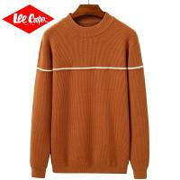 Lee Cooper秋冬男款圆领撞色条纹拼接针织衫落肩袖男士毛衣