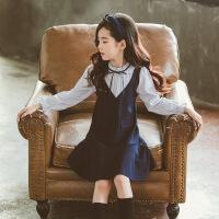 女童连衣裙秋装2018新款小女孩童装长袖秋季公主裙儿童超洋气裙子 藏青色