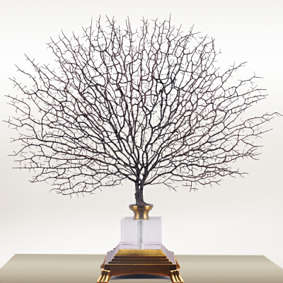 新中式摆件海铁树装饰创意家居样板房软装客厅玄关书房工艺品摆设