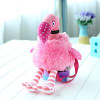 小女孩旅游包幼儿园儿童书包小班宝宝1-3岁男童可爱双肩公仔背包 粉红色火烈鸟