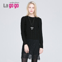 Lagogo纯色蕾丝拼接长袖针织衫两件套EDK703C227