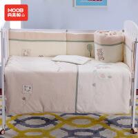 月亮船月亮船宝宝床围法兰绒加厚七件套床上用品婴幼儿床品可拆洗秋冬款