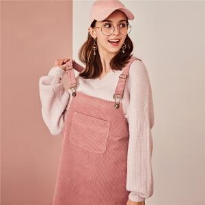 【一口价114元】灯芯绒背带连衣裙装2018新款女韩版宽松女人味气质温柔风短裙
