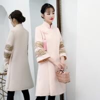 汉服唐装女复古风少女秋冬中式时髦套装毛呢长袖外套中国风旗袍