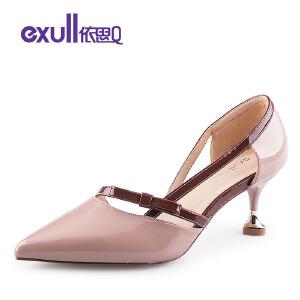 依思Q蝴蝶结饰带女鞋女士尖头单鞋百搭细跟高跟鞋时尚女单鞋