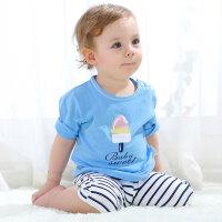 宝宝七分裤套装夏季短袖'新款婴儿短裤两件套男儿童衣服女
