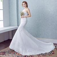 2018新款新娘婚纱礼服收腰鱼尾抹胸小拖尾韩式蕾丝修身显瘦2018 白色