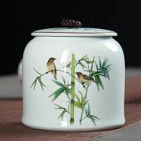 手绘青瓷家用大号陶瓷茶叶罐中码半斤装普洱茶叶密封包装罐子