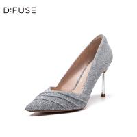 迪芙斯(D:FUSE)2019年春季专柜同款闪面布尖头高跟单鞋DF91111017