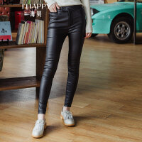 ihappy/海贝2017冬季新款女装 黑色修身皮裤休闲长裤铅笔裤