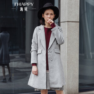 海贝2017冬季新款女装外套 休闲西装领长袖暗扣中长款羊毛呢大衣
