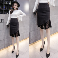加厚版毛呢半身裙黑色高腰大码修身显瘦蕾丝拼接不规则韩版包臀裙 X