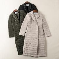 冬装新款简约翻领双边口袋中长款薄款羽绒服