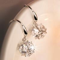 银耳环 立方体耳坠女气质银耳饰品