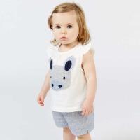 戴维贝拉夏装短袖套装女宝宝卡通贴布绣两件套DB7232