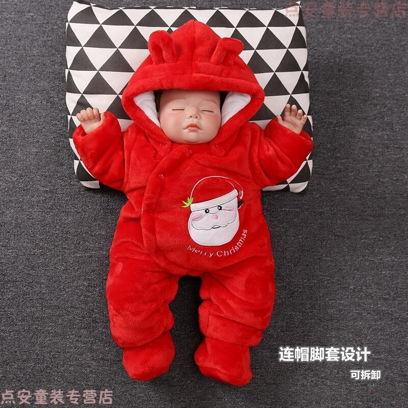 婴儿棉衣服秋冬装0-3-6个月宝宝加绒加厚圣诞新生儿连体抱衣 发货周期:一般在付款后2-90天左右发货,具体发货时间请以与客服协商的时间为准