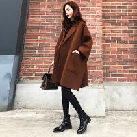 2017新款女装冬装宽松大码中长款毛呢外套女茧型焦糖色呢大衣加厚 (加棉)
