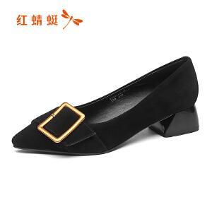 红蜻蜓女鞋秋冬休闲鞋鞋子女单鞋高跟鞋WGB8140