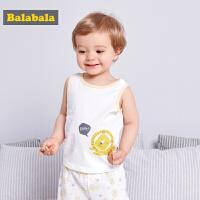 【夏新款2件8折】巴拉巴拉童装女婴儿背心夏装2018新款男宝宝马甲打底衫儿童两件套
