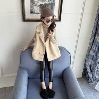 儿童马甲毛绒背心女孩加厚保暖秋冬童装中大童羊羔毛马夹坎肩上衣 米色