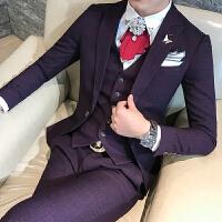 18秋冬款男士韩版修身新郎西服套装潮流青少年免烫休闲西装三件套