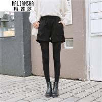 玛莲莎高腰毛呢短裤秋冬新款黑色阔腿加厚外穿宽松休闲靴裤