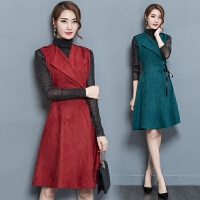 套装裙两件套秋冬秋装新款女长袖收腰连衣裙鹿皮绒时髦套装潮