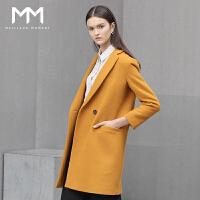 商场同款MM麦檬冬装新款翻领中长款羊毛大衣女毛呢外套