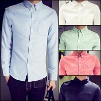 子俊秋季男士衬衫长袖修身型大码牛津纺衬衫林弯弯白色正装衬衣潮