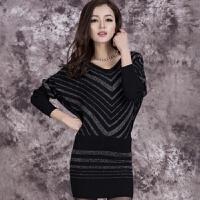 春秋时尚新款包臀女士针织衫毛衣长袖中长款宽松大码显瘦打底衫 黑色