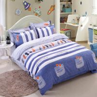 床上用品四件套全棉纯棉磨毛1.8m2.0米1.5单人被套床单被子三件套 玫红色 梦幻空间