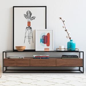 奇居良品 意式简约客厅家具 珊纳玻璃胡桃木饰面客厅电视柜