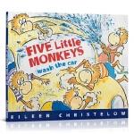 【顺丰速运】进口英文原版 Five Little Monkeys Wash the Car 五只小猴子洗汽车 3-6岁