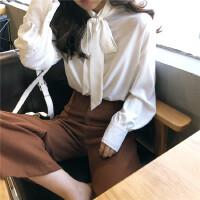 春季新款复古韩国纯色宽松显瘦飘带系带长袖衬衫蝴蝶结打底衫上衣