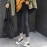 卷边牛仔裤女冬季新款韩版百搭chic风高腰显瘦磨破小脚铅笔长裤子