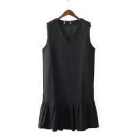 HF12韩版学院风小清新宽松V领无袖连衣裙女春装气质鱼尾裙中长裙