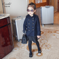 男女童外套新款儿童秋装羊毛呢子上衣女童韩版立领双排扣呢子大衣
