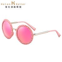 海伦凯勒太阳镜女款 2016年新款时尚复古视觉冲击打造高贵女郎圆框墨镜 H8516