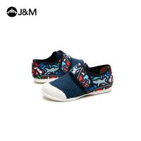 jm快乐玛丽童鞋2018新款休闲中小童儿童布鞋女童魔术贴男童帆布鞋